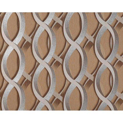 EDEM 601-91 wallpaper non-woven 3D chain retro pattern brown silver | 10.65 sqm