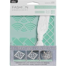 "Bucilla Fashion Embroidery Template Kit 5""X6""-Geometric Shashiko"