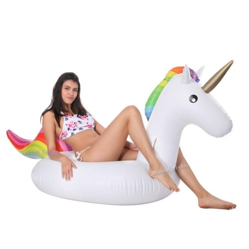 Inflatable Unicorn Pool Float, Outdoor Swimming Pool Floatie Float Lounge Toy Bed with Rapid Valves for Kids 02