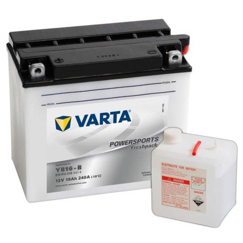 Varta Freshpack Battery 12 V 19 Ah YB16-B with an Acid Bottle Leak-proof