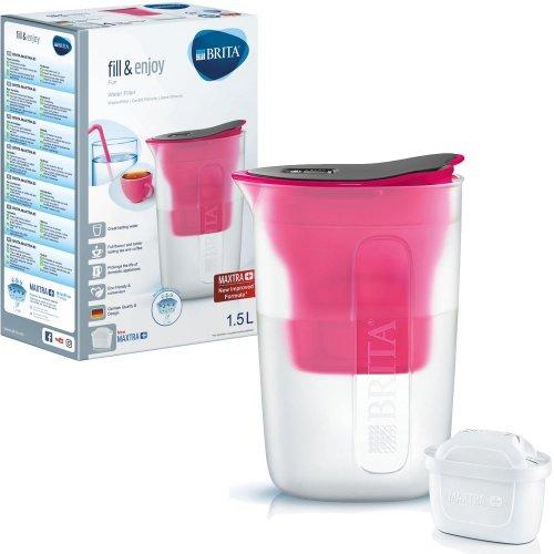 BRITA Fun Water Filter Compact Fridge Jug and MAXTRA+ Plus Cartridge Refill Pink