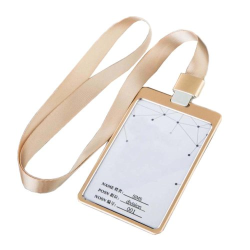 Aluminum Alloy Vertical Style ID Card Badge Holder with Neck Lanyard Strap 3PCS, 13