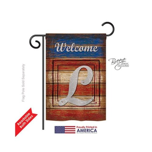 Breeze Decor 80116 Patriotic L Monogram 2-Sided Impression Garden Flag - 13 x 18.5 in.