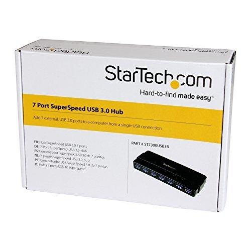 StarTech com 7 Port SuperSpeed USB 3 0 Desktop Hub with Power Adapter ST7300USB3B Black