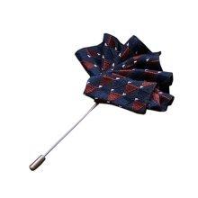 High-end Ribbon Lapel Stick Boutonniere Pins Suit Lapel Pins for Wedding, #12