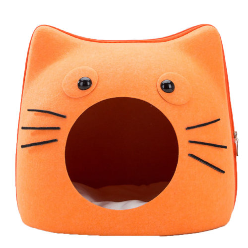 Small Medium Cat Cave Bed Pet Condo House Sleeping Bed for Cats and Pet Orange