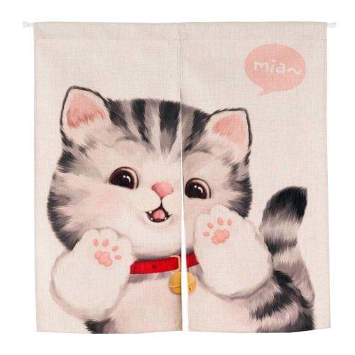 Cute Cat Ramie Cotton Fabric 85X90 CM Doorway Curtain