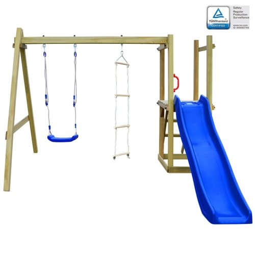 vidaXL Playhouse with Slide Ladders Swing 242x237x175 cm FSC Wood