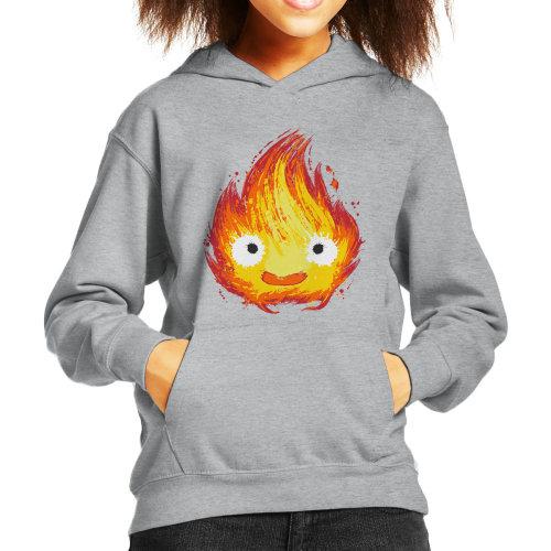 (X-Small, Heather Grey) Howls Moving Castle Fire Demon Kid's Hooded Sweatshirt