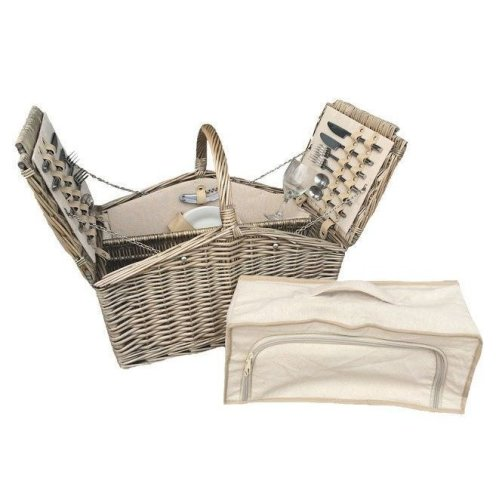 Two Lidded Fitted 4 Person Picnic Basket Hamper