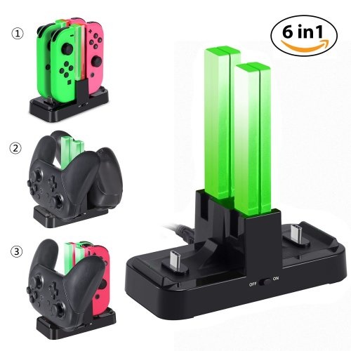Nintendo Switch Charging Dock KINGTOP 6 in 1 Charger Docking Station