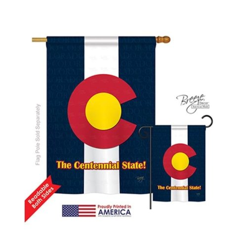 Breeze Decor 08104 States Colorado 2-Sided Vertical Impression House Flag - 28 x 40 in.