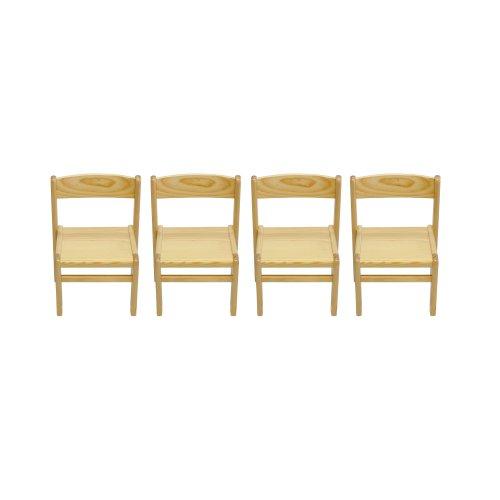 Obique Childrens Furniture Pine Wood Set of 4 Chairs Natural Varnished