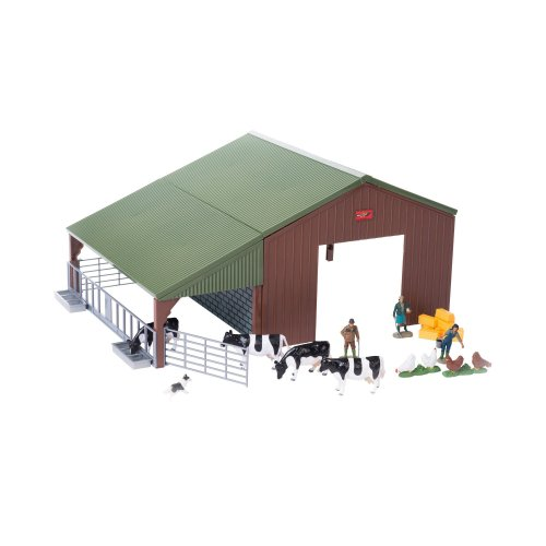 Britains 1:32 Farm Building Starter Playset - Includes Giant Barn, Cows and Chickens, Farming Family and Sheepdog - Collectable Farm Toy - Suitable...