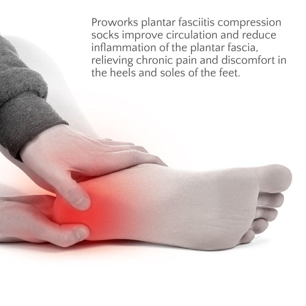 1c76a1838e ... Proworks Plantar Fasciitis Compression Socks (Pair), Night Splint  Alternative & Open-Toe. >