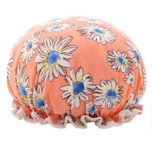 Womens Stylish Design Mold-resistant Shower Cap Double Layers Waterproof Bath Cap,J