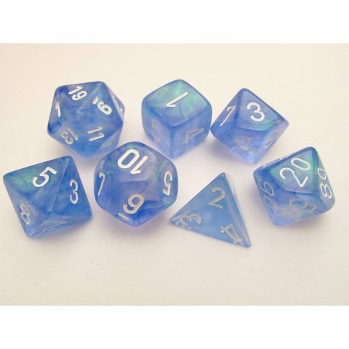 Chessex Polydice Set - Borealis Sky Blue/white