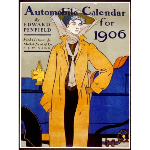 Advertising poster - Automobile Calendar for 1906 - High definition printing on stainless steel plate