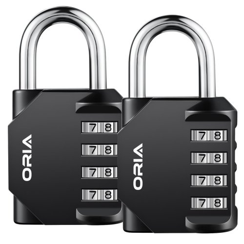 2 Pack Combination Padlock, 4 Digit Lock Set, Security, Mental and Plated Steel