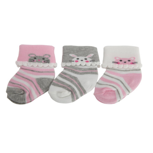 Nursery Time Baby Girls Animal Design Socks (Pack Of 3)