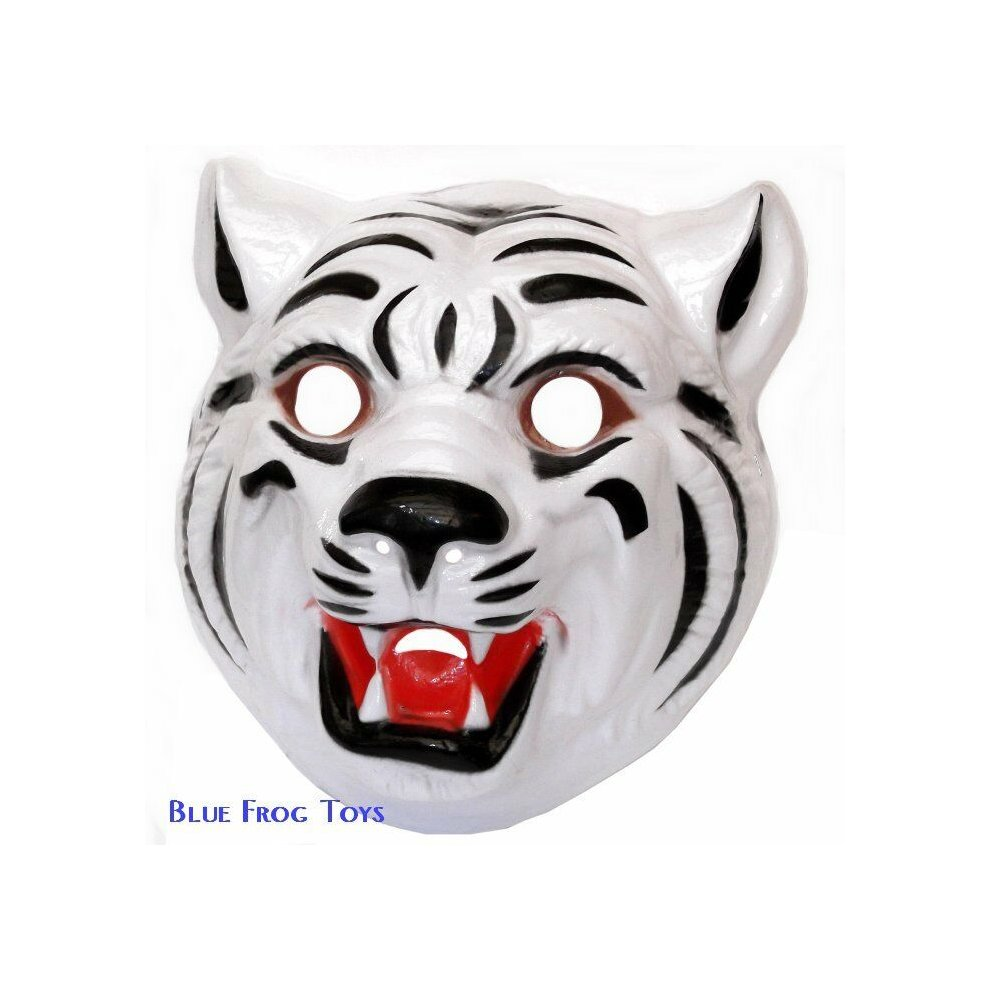 Pack of 6 White Tiger Plastic Face Masks - Fancy Dress Accessories - FREE  P&P