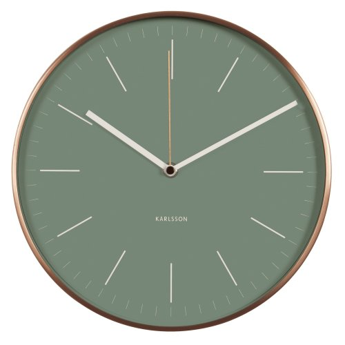 "Karlsson ""Minimal Jungle Wall Clock with Copper Case, Green"