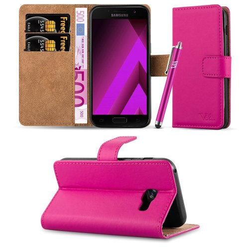(Pink) For Galaxy A5 2017 Leather Flip Wallet Case Cover