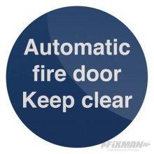 Fixman Automatic Fire Door Sign 100 x 100mm Rigid - Automatic Fire Door x 100mm -  automatic fire door x 100mm rigid sign fixman 501302