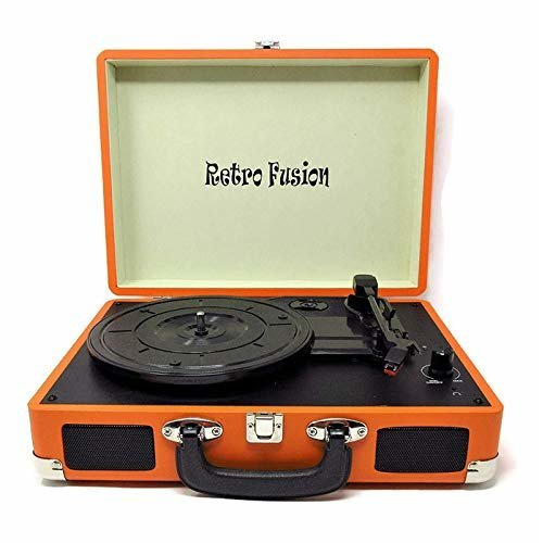 Retro Fusion (TM) Orange Belt-Drive 3-Speed Portable Vinyl Turntable Case with Built In Speakers