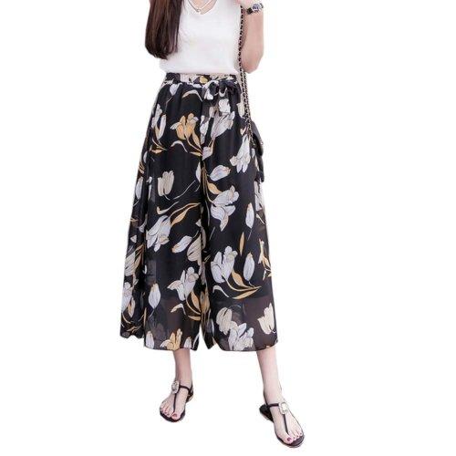 Elegant Summer Thin Pants Floral Print Women Loose Slacks Beach Clothing, #07