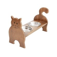 Obique Wooden Raised Double Bowl Feeding Station for Cats, Dark H-10cm