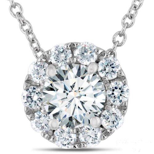 Women Round Halo Diamond Pendant White Gold Sparkling Jewelry 2 Ct.