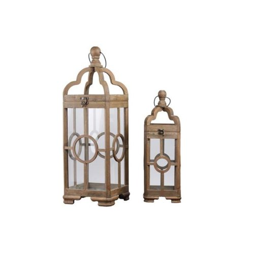 Urban Trends Collection 54207 Wood Square Lantern with Round Finial Top Ring Handle & Center Circle Design Body, Natural Brown - Set of 2