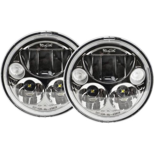 Vision X Lighting XIL-575RDBKIT Black & Chrome Face 5.75 in. Round VX LED Headlight with Low-High-Halo - Set of 2