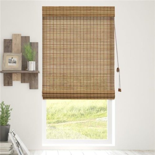 Chicology BRMS2964 Bamboo Roman Shades Wood Window Blind, Squirrel - 29 x 64 in.