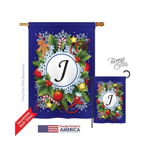 Breeze Decor 30088 Winter J Monogram 2-Sided Vertical Impression House Flag - 28 x 40 in.