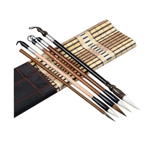 5 PCS Chinese Calligraphy / Kanji Brush Set (Goat Hair, Jian Hair, Wolf Hair)