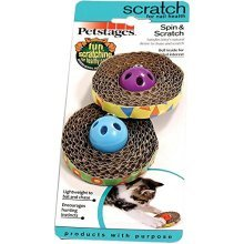 Petstages 701 Spin and Scratch Cat Catnip Toss and Bat Toy