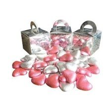 Pack of 12 Pink and White Chocolate Heart Filled Holographic Star Silver Cube Balloon Weight Favour Boxes