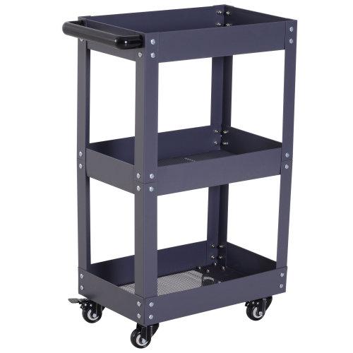 HOMCOM 3-Tier Kitchen Service Cart Utility Trolley Garage Wheel Storage W/ Handle Rolling Castors Workshop Mechanic Tool Black