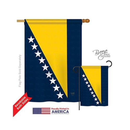 Bosnia & Herzegovina 2-Sided Vertical Impression House Flag - 28 x 40 in.