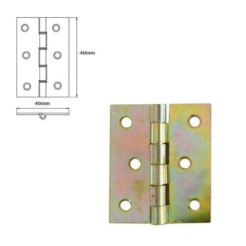 5 Pcs Folding Closet Cabinet Door Butt Hinge Brass Plated 40x40mm
