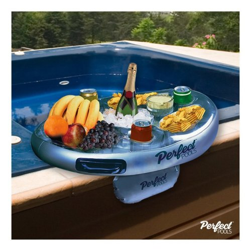 Official 'Perfect Pools' Spa Bar | Inflatable Drink & Snack Hot Tub Tray