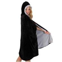 Cloak & Hood Velvet Black - White Lining