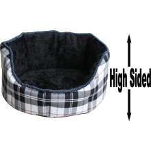 """Dog Bed Thick Black Chequered Material Fleece 36"""""""