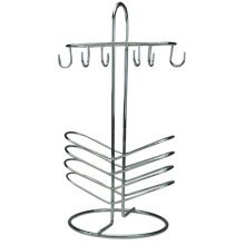 TIDY - Metal 6 Cup and Saucer / Mug and Plate Storage Rack - Silver