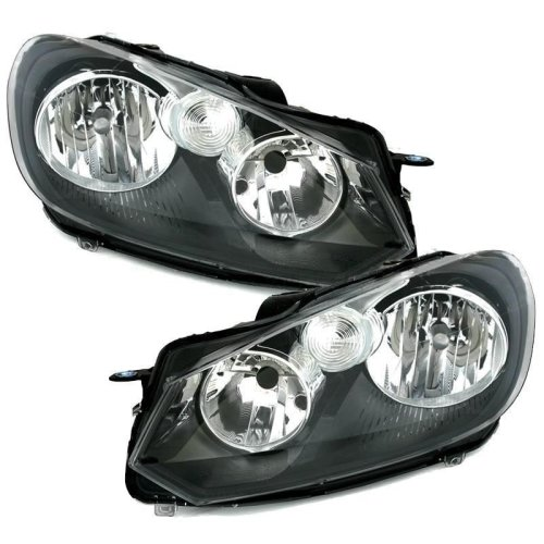 Volkswagen Golf Mk6 2009-2013 Black Headlights Headlamps 1 Pair O/s & N/s