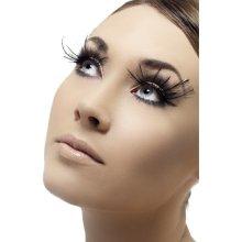 Smiffy's Eyelashes With Plumes And Glue - Black -  eyelashes black feather fancy dress plumes smiffys ladies glue