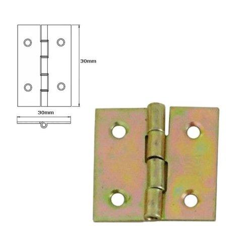 20 Pcs Folding Closet Cabinet Door Butt Hinge Brass Plated 30x30mm