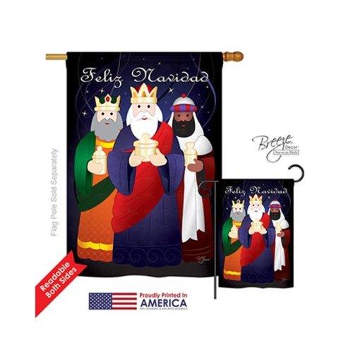 Breeze Decor 14081 Nativity Feliz Navidad 2-Sided Vertical Impression House Flag - 28 x 40 in.